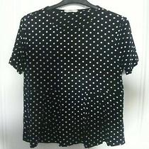 Mng- Urban Outfitters Black Short Sleeve Top White Polka Dots. peplum.fits 12 Photo