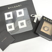 Mnt Auth Bvlgari Scarf Ring Set Silver 925 Silk Black Italy 13110596000 1197 Photo