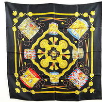Mnt Auth Hermes 100% Silk Scarf Les Tambours Drums Black Gold 13110284400 7 Photo