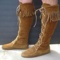 Moccasin Boots Minnetonka Knee Hi Brown Suede Fringe Hard Sole Size Womans 7-1/2 Photo