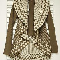 Mocha Zig-Zag Ptr Round Tulip Hem Open Cardigan M  Anthropologie Earring Photo