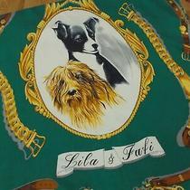 Mochino Dogs Lila & Fufi Blue & Emerald Green Silk Designer Square Scarf 35