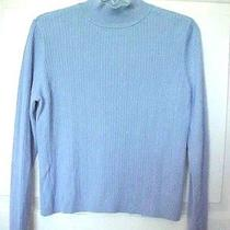 Mock Turtleneck Sweater Lg Blue Long Sleeve Cable Knit Front by Classic Elements Photo