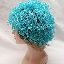 Mod Pop Art 1960-70s Womens Hat Aqua Blue Stretchy Covered With 2