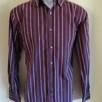 Mod Retro Apt. 9 Men's M Ls 80's Superfine Cotton Wine Striped Button Shirt Photo