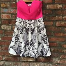 Mod Retro Cloth - Hot Pink Blue Blush Retro Print Strapless Dress - Sz Medium Photo