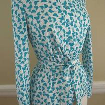 Mod Vintage 70's Aqua Op Art Butterfly Novelty Print Belted Disco Shirt Top S Photo
