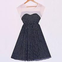 Modcloth/lulus/oasap Vintage 50s Sweetheart Nude Chiffon Polka Dot Midi Dress Photo