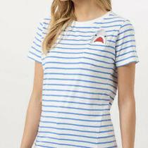 Modcloth Sugarhill Brighton Pocket Shark Nautical Striped T-Shirt Size 14 Photo