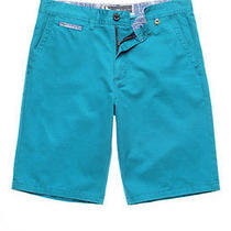 Modern Amusement Parker Solid Chino Shorts Turquoise Size 34 New Photo