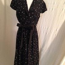 Modest Dress Vintage Style Black White Polka Dot 10 Kay Unger Button Down Retro Photo