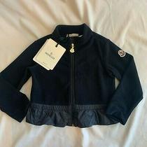Moncler Baby Toddler Girl Maglia Cardigan Zip Velvet Nwt Size 2 Navy Photo
