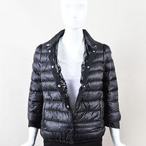 Moncler Black Nylon Down Quilted Button Up Crop Flared Sleeve Puffer Jacket Sz 2 Photo