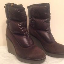 Moncler Brown Suede / Nylon Wedge Boots Size 7 Photo
