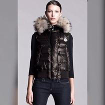 Moncler Coyote Trim Lacquered Puffer Vest for Women/small Photo