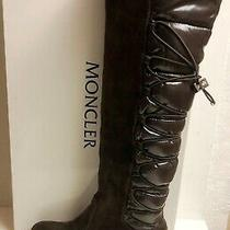 Moncler Geneve Brown Shiny Puffer Suede Knee High Wedge Boots Shoes 38 Photo