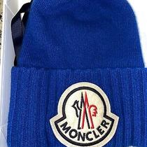 Moncler Light Blue Current Collection Logo Virgin Wool Beanie Hat One Size Photo