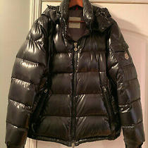 Moncler Men's Black Shiny Hooded Winter Puffer Jacket Size 5  Photo