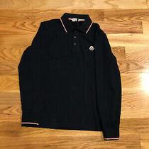 Moncler Men's Navy Blue Cotton Long Sleeve Polo T-Shirt W Logo Size M Photo