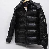 Moncler Mens Black Maya Down Lacquered Hooded Quilted Jacket 4 L Photo