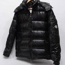 Moncler Mens Black Maya Down Lacquered Hooded Quilted Jacket Size 5  Photo