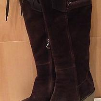 Moncler Passy Brown Suede Knee Wedge Boots 38 Photo