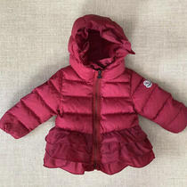 Moncler Red Ruffle Down Jacket Girls Baby Toddler Size 9-12 Months Photo