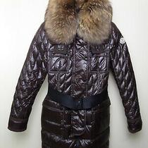 Moncler Safran Women's Down Jacket Bomber Parka Coat Size 3/l Collar Chocolate  Photo