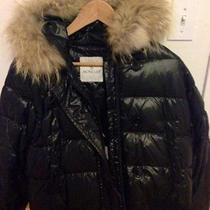 Moncler Short Fur-Trim Lacquered Puffer Coat Photo