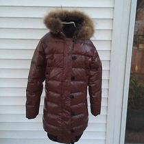 Moncler Women's Clairy Brown Lacquer Down Puffer Long Coat. Photo