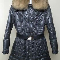 Moncler Women's Down Jacket Bomber Jacket Size 3/l Collar Gray Photo