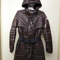 Moncler Women's Down Jacket Bomber Parka Coat Size 3/l Hood Brown  Photo