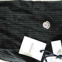 Moncler Wool Unisex Scarf Charcoal Made in Italy 70 X 10 Inches Photo