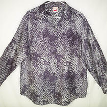 Mondi Escada Crisp Silk Gray Snake Python Print Button Blouse Top Shirt 44 14 Photo
