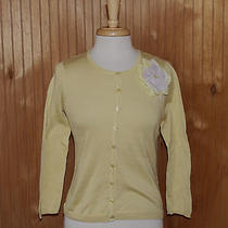 Monogram Hwr Anthropologie Yellow Corsage Cardigan Sweater Medium Fits Small Photo