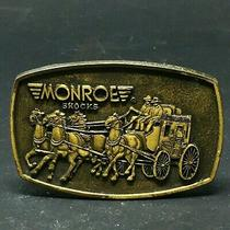 Monroe Shocks Stage Coach Horses Brass Belt Buckle Tasco - Dallas - Vintage Photo