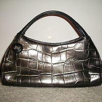 Monsac Brown Croc Embossed Handbag Gold-Tone Feet Key Ring Snap Inside Pockets Photo