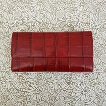 Monsac Red Croc Leather Trifold Wallet Checkbook Id Cc Slots Organizer Clutch Photo