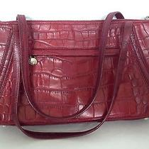 Monsac Red Leather Shoulder Bag Purse Handbag Croc Photo