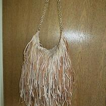 Monserat De Lucca - Tan Leather Fringe Hobo Shoulder / Crossbody Handbag Purse Photo