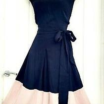 Monsoon Size 16 Black Blush Pink Fit & Flare Summer Occasion Dress 100% Viscose  Photo