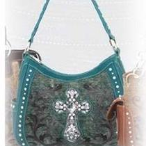 Montana West Handbag Hobo Style - Leather Rhinestone Cross Black New Photo