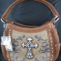 Montana West Handbag Hobo Style - Leather Rhinestone Cross Medium Rust New Photo