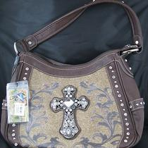 Montana West Handbag Hobo Style - Leather Rhinestone Cross Medium Coffee New Photo