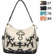 Montana West Handbag Hobo Style - Leather Rhinestone Cross Medium Beige New Photo