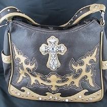 Montana West Handbag Hobo Style - Leather Rhinestone Cross Medium Brown Tan New Photo