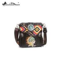 Montana West Western Aztec & Croc Print Indian Chief Messenger Bag Coffee Photo