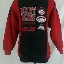 Monte Blanc French Ski Resort Patches Long Sleeve Double Collar Sweatshirt Red  Photo