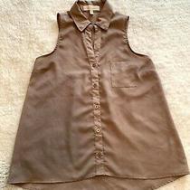 Monteau Women's Size S Sleeveless Beige Tan Shine Blouse Top Collar Button Photo