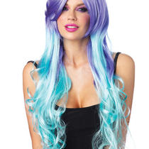 Moonlight Lavender and Aqua Long Curly Wig With Optional Pony Tail Clips Photo